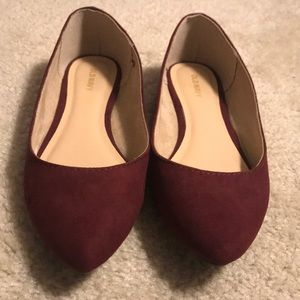 Maroon Old Navy Faux-Suede Flats